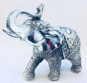 Silver Mosaic Elephants Truck Up  Figurine Ornament 11cm Tall LP41140